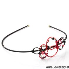 Red Black Handcrafted Swarovski Crystal Beaded Wire Wrapped Hair Band