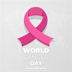 Flat world cancer day background Free Vector