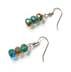 Aqua Teal Czech Glass Beaded Earrings Czech Glass by BeadsNStyle, $11.50