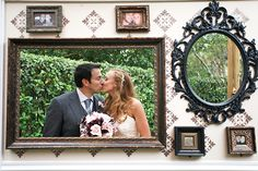 Take a cue from these clever newlyweds and use frames to add depth and dimension to a walled backdrop with cutouts.