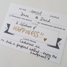 Pack Of 25 Wedding Guest Message Cards