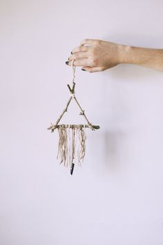 Mini Natural Crystal Triangle Dreamcatcher by Hummusbird on Etsy