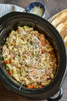Slow Cooker Garlic Butter Chicken and Pasta. This buttery chicken and pasta is a hit at our house!