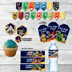 Nexo Knights Printable Party Pack - Lego Nexo Knights - Banner - Cupcake topper - Invitation - Thank you tag - Water label by DsInvitations on Etsy