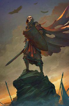 Morbid Fantasy — Triumphant Undead Warrior by Leote Durán Gothic Fantasy Art, Fantasy Rpg, Fantasy Artwork, Dark Fantasy, Medieval Fantasy, Fantasy Character Design, Character Design Inspiration, Character Art, Arte Cyberpunk