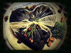 Nice big blackened wax heart I created and dressed for Valentines. By: Ye Olde Crow Primitives