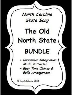***$5.50*** This BUNDLE product has been written especially for North Carolina teachers or teachers who would like to share NCs state song, The Old North State.This product bundles the following:Easy Chimes & Bells arrangement of THE OLD NORTH STATEVocabulary Word Study (words used in song)Recorder music for the state song, THE OLD NORTH STATEMusic & Lyrics for piano accompanimentWorksheets using Rhythm Patterns for the 100 counties of NCoDivided into the three regions:Mountain Region...