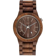 Wewood assunt nut watch ($210) ❤ liked on Polyvore featuring men's fashion, men's jewelry, men's watches, mens blue dial watches, mens brown leather watches, mens wood watches and mens wooden watches