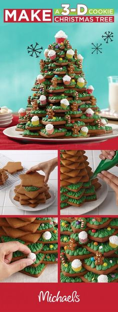 Christmas Cookies - Make it Merry this holiday season with a cookie Christmas tree! This delicio. Christmas Tree Food, Christmas Tree Cookies, Christmas Sweets, Christmas Gingerbread, Christmas Cooking, Noel Christmas, Christmas Goodies, Christmas Gifts, Gingerbread Houses