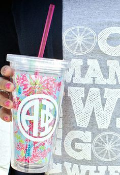 So cute! Sorority Monogrammed Lilly Pulitzer Tumbler with Straw