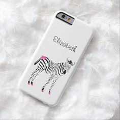 A cute hot pink and black slim #iPhone6case with a baby zebra wearing a girly pink bow and pretty hot pink hooves. This trendy case just for young girls can be personalized by adding her name.
