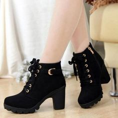 e558b3b09a601c Women girl high top heel ankle boots winter pumps lace up buckle suede  shoes boots target