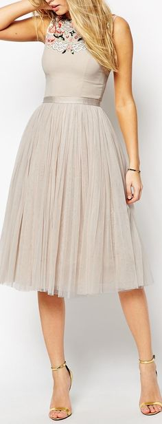 Women's fashion | Pastel tulle embroidered dress