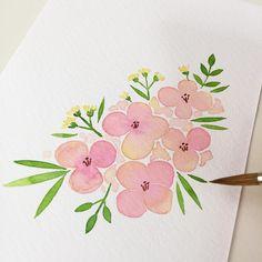 간단히 그리는 #엽서그림 🌸✨ 오랜만에 동영상 찍고있었는데... 그리는 동안 전화가 와서 촬영이 안됐네요 😥 #흐규흐규 - © 미쓰마 작업실 missma.co.kr - #미쓰마 #미쓰마작업실 #수채화 #수채일러스트 #일러스트 #손그림 #감성수채화… Watercolor Sketchbook, Easy Watercolor, Watercolor Cards, Watercolour Painting, Floral Watercolor, Painting & Drawing, Water Drawing, Floral Illustrations, Colorful Drawings