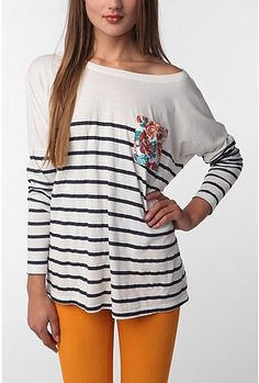 cute outfit.. make the shirt from a loose,  men's long-sleeved t shirt. add stripes and pocket!!