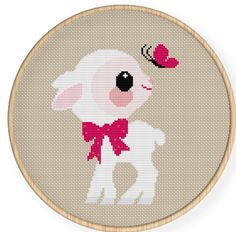 Buy 4 get 1 free ,Buy 6 get 2 free,Cross stitch pattern, Cross-StitchPDF,cute baby sheep play with butterfly,zxxc0016. $4.50, via Etsy.