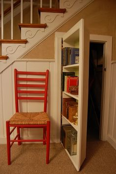 One of the most creative ways to use a tall bookcase, is to modify it to swing like a door. Essentially you create hidden storage behind the bookcase. You can do this in a main living area, a bedroom or even a closet. Secret passages are fun for kids and adults alike, and a great place to keep items, or to even hide a desk area