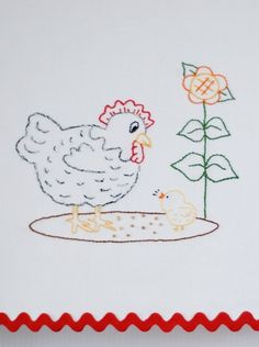 Chicken Embroidery Pattern Hen and chick embroidery pattern. $3.00, via Etsy.