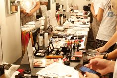 The #AvonMakeup beauty setup backstage at the Elizabeth and James Spring 2014 Presnetation at #nyfw.