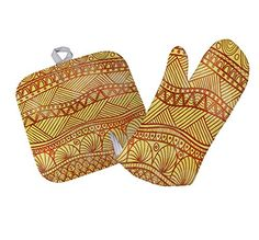 Abstract Tribal Kitchen Bar Oven Mitt & Pot Holder Set St...