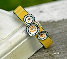 White Camellias - Only Available June 2011 - Enameled Bangle by bullfinchbarbury $55.00