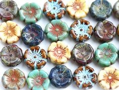 12pc Pansy flower beads MIX Picasso Czech glass Flowers 12mm