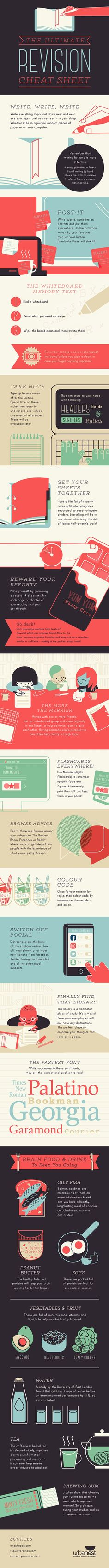 Educational infographic & Data The Ultimate Revision Cheat Sheet Infographic - elearninginfograp. Image Description The Ultimate Revision Cheat Sheet University Checklist, University Tips, University Essentials, Revision Techniques, Revision Tips, Study Skills, Study Tips, Study Smarter Not Harder, Exam Success