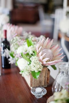Darling Floral Protea Wedding by Moira West Protea Centerpiece, Wedding Centerpieces, Wedding Table, Rustic Wedding, Wedding Decorations, Centrepieces, Chic Wedding, Wedding Rings, Protea Wedding