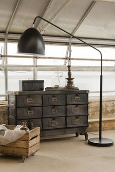 love the industrial look- would be so cool in an attic room