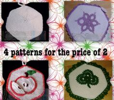 Potholder Hexagon/ Honeycomb Projects, Crochet Pattern DIY 3 In One for Scrapbooked Digital Instant Download PDF File. 4 crochet patterns for the price of 2 in this listing: Hexagon/Honeycomb, Medallion, Irish clover, apple and apple slice. Excellent versatile basic crochet patterns for a honeycomb or hexagon shaped pot holder, hot pad, afghan and many other uses to apply.  All patterns can be applied to other projects in various ways. You see in the one picture the naked honeycomb,...