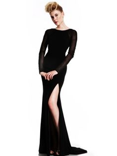 Fashionable Black Sheath/column Round Neckline Sweep Train Beadings Evening Dress
