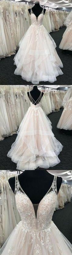 White Tulle V Neck Open Back Long Layered Formal Prom Dress, Wedding Dress Wedding Dress Material, Long Wedding Dresses, Dress Wedding, Bridesmaid Dresses, Prom Dresses, Tulle Wedding, Wedding White, White Tulle, Tulle Lace