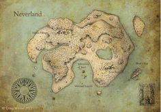 Peter Pan Neverland Map Fine Art Print by imaginactory on Etsy, $30.00