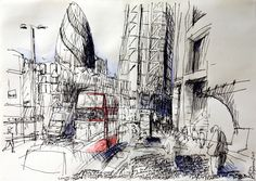 """1J - Ben Kilburn from @knarchitects """"Broadgate 142"""" for 10x10 Drawing the City London 2011"""