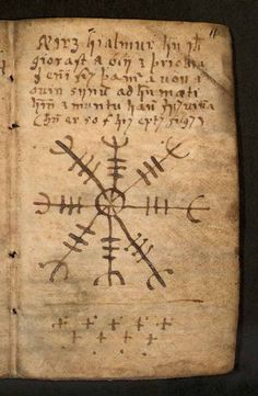 """an-erotic-alchemy: """" The traditional Occult Symbol – Aegishjalmur commonly referred to as the """"helm of awe"""" is a an ancient Scandinavian runic viking symbol. The symbol is said be worn over the. Occult Symbols, Viking Symbols, Ancient Symbols, Viking Runes, Witchcraft Symbols, Mayan Symbols, Occult Art, Egyptian Symbols, Ancient History"""