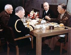 World War II Joint Chiefs of Staff (circa 1943) - From left to right are: Gen. Henry H. Arnold, Chief of Staff, U.S. Army Air Forces; Adm. William D. Leahy, Chairman, Joint Chiefs of Staff;   Adm. Ernest J. King, Chief of Naval Operations and Commander in Chief, U.S. Fleet; and Gen. George C. Marshall, Chief of Staff, U.S. Army.