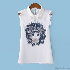 Einzigartige Krone Katzen-Tier-ärmellosen Chiffon-Hemd only $19.99 in ByGoods.com!