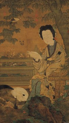 Lady reading a book by Chou Wen-chü,  Five Dynasties Period (Southern T'ang)