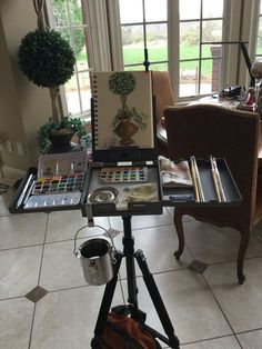 in my house! This is the first time I have used my new Strada micro easel and I absolutely love it! Plein Air Easel, Watercolor Paintings, Watercolour, Artist Supplies, Painted Books, True Art, Box Art, Art Studios, Stationery Pens