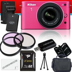 Nikon 1 J2 Mirrorless Digital Camera with 10-30mm VR Zoom Lens (Pink) 16GB Package by Nikon. $1000.00. Package Contents:  1- Nikon 1 J2 Mirrorless Digital Camera with 10-30mm VR Zoom Lens (Pink) with all supplied accessories 1- 16GB SDHC Class 10 Memory Card 1- Rechargeable Lithium Ion Replacement Battery 1- Rapid External Ac/Dc Charger Kit   1- USB Memory Card Reader  1- Weather Resistant Carrying Case w/Strap  1- Pack of LCD Screen Protectors  1- Camera & Len...
