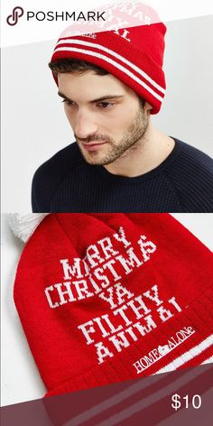 "Home Alone Beanie New with tags pom beanie with the movie quote ""Merry Christmas Ya filthy animal"" on it.  PI-011 Urban Outfitters Accessories Hats"