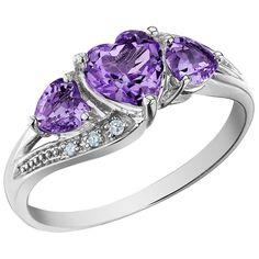 Amethyst Heart Promise Ring