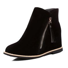 VogueZone009 Womens Flock LowTop Solid Zipper HighHeels Boots Black 39 * More info could be found at the image url.(This is an Amazon affiliate link)
