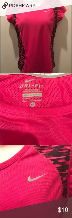 Nike Dri fit running pink black shirt size medium Nike Dri fit running pink black shirt size medium. From a smoke free and pet free home. Bundle another item for 15% off and combined shipping! Nike Tops Tees - Short Sleeve