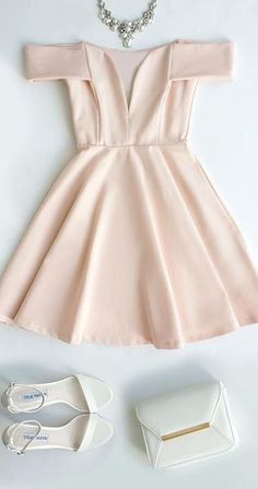 Off the Shoulder Homecoming Dress Light Pink Short Prom Dress V-Neck Party Dress pst1362