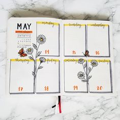 Bullet journal weekly layout, flower drawings, butterfly drawing, cursive daily headers. | @happybujolife