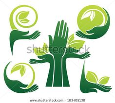 vector collection of ecological symbols and signs,human's hands and green growing plants by tachyglossus, via ShutterStock Carta Logo, Environment Logo, Education Logo Design, Plant Logos, Organic Logo, Creative Web Design, Green Logo, Hand Logo, Hand Illustration