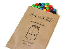 25 Mason Jar Treat Bags  Love Is Sweet Wedding by ThePetitePackage, $18.95