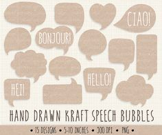 SALE - 20%. Kraft Speech Bubble Clip Art. Hand DrawnThought Bubble Illustration. Kraft Labels and Tags.  Chat Box Graphics.