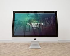 New simple iMac Mockup on wooden floor. You can use the mockup to show case your web design or presentation with photorealistic effect on apple screen. Add your image inside the smart object and enjoy you work. - GrfxPro.com